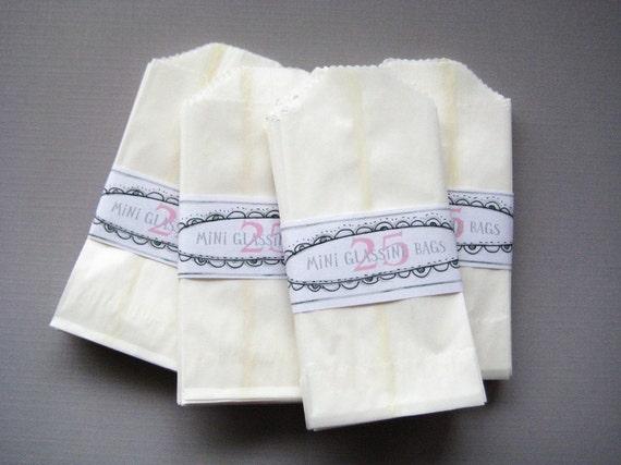 Glassine Bags - Mini - Set of 100 in Frost White