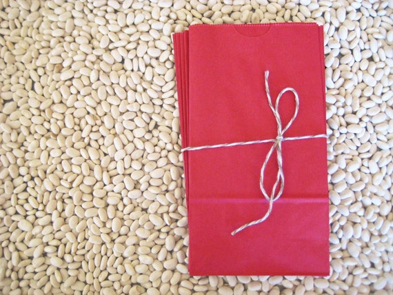 Kraft Paper Bags - Set of 15 in Red Berry