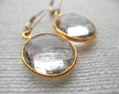 Large Clear Quartz earrings - clear quartz earrings - gold earrings -E A R R I N G S