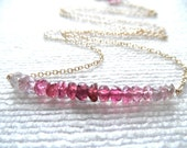Pink Tourmaline - pink tourmaline necklace - ombre necklace - tourmaline necklace - gold necklace - K A T E 093