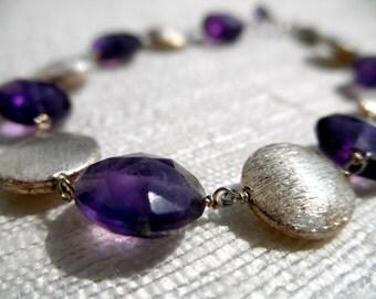 Amethyst bracelet - purple bracelet - vermeil bracelet - K A T E 055