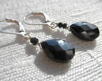 Black earrings - swarovski earrings - black swarovski crystal - L A U R E N 150
