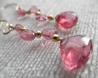 Pink topaz earrings - Gold earrings - V I D A 126