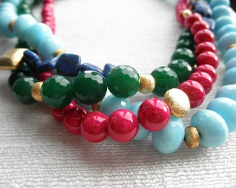 Blue, pink, green and gold necklace - one of a kind - chunky necklace - 4 strand necklace - H A L E Y 118
