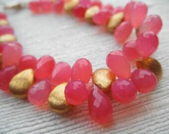 Pink bracelet - chalcedony bracelet - gold bracelet - V I D A 104