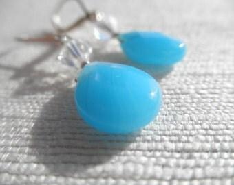 Chalcedony and swarovski crystal earrings - blue earrings - sterling silver - L A U R E N 037