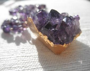 Medium Amethyst druzy -druzy necklace - purple necklace - gold necklace - D R U Z Y 082