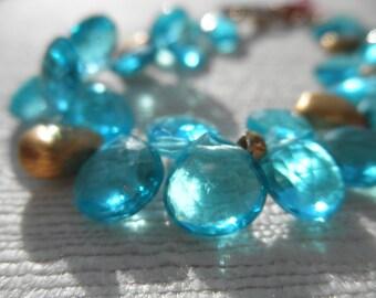 Blue bracelet - chalcedony bracelet - gold bracelet - V I D A 094