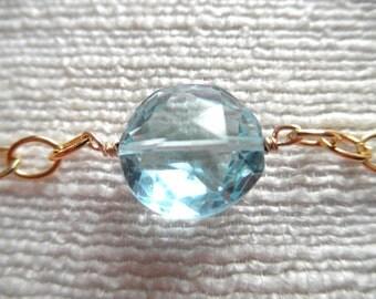 Swiss blue topaz bracelet - blue bracelet - gold bracelet - K A T E 192