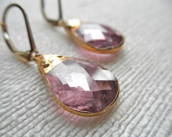 Hydro Quartz earrings - light pink earrings - gold earrings - E A R R I N G S 021