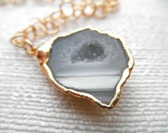 Geode - Geode necklace - gray geode necklace - druzy - gold necklace - D R U Z Y 066