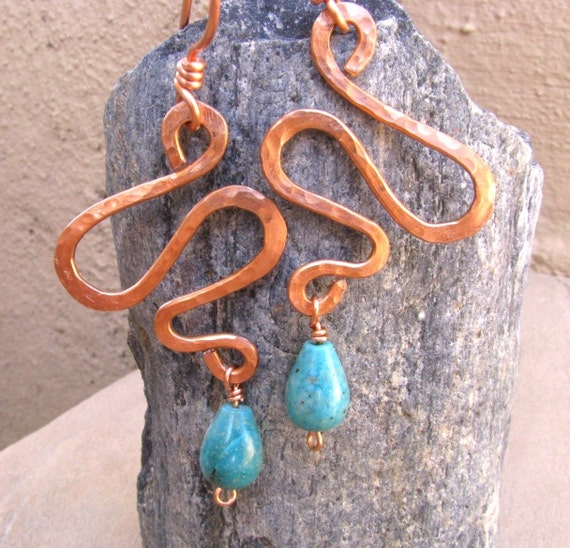 Reserved for Eugene - Desert Oasis Copper Squiggle and Turquoise Teardrop Earrings