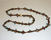 Brown and Blue Glass and Seed bead Necklace