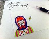 Red Head Sugar Skull - Matryoshka Envelope in Purple Green and Pink
