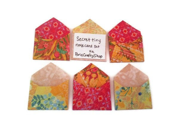 Secret Mini Note Card and Envelopes set of 6