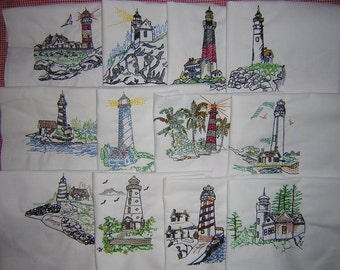 Machine Embroidered Filled in Lighthouses Quilt Blocks