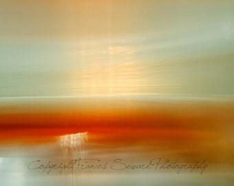 seascape horizon photo, orange, red, yellow, green, light photo, calming photo, zen photo, ethereal, all sizes, canvas, acrylic glass, paper