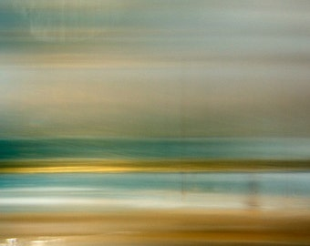 Flat Plains I, Turquoise and Gold, Original Fine Art Photograph, Giclee. Museum paper