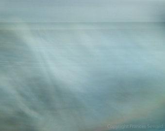 I dreamed of the sea, light blue, baby blue, horizon art, dreamlike photo, mysterious photo, zen art, minimalist art, giclee canvas, custom