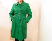 Kelly Green Trench Coat with Floral Rhinestone Buttons