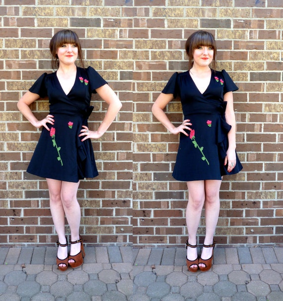 vintage 1970s dress/ black floral dress/ wrap dress/ floral applique
