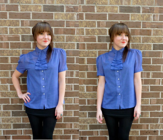 vintage 1970s blouse/ polka dot blouse/ ascot collar/ navy blue
