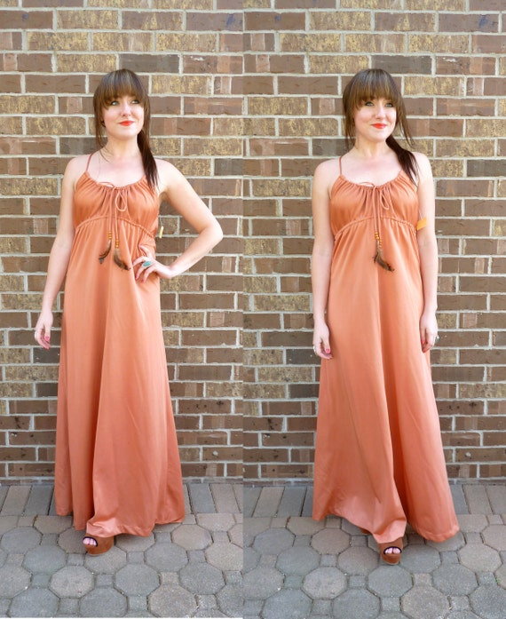 vintage maxi dress/ boho gown/ with feathers/ amber pink/ NWT