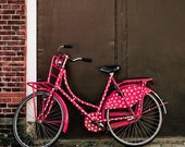 Polka Dot Bike - Fine Art Photo on 5 x 5  Bamboo Plywerk Panel