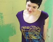 FREE SHIP - Camera Colora Boatneck Womens Shirt - Eggplant - American Apparel combed cotton