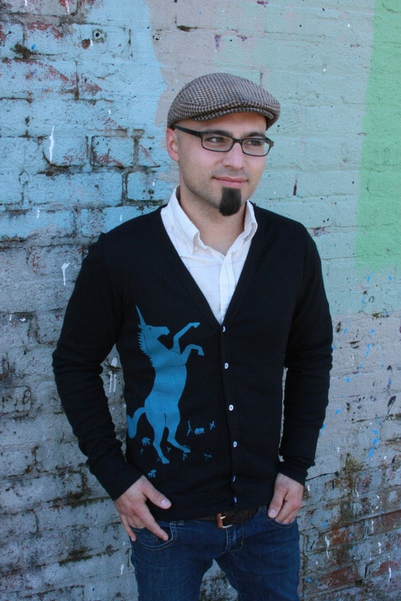 Unicorn Cardigan in Black - Unisex