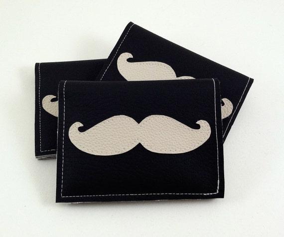Mustache Wallet - black and cream