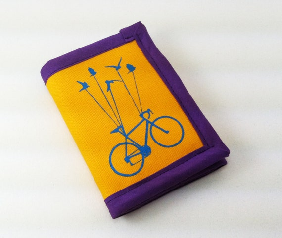 Flying Bike Wallet - yellow, blue and purple