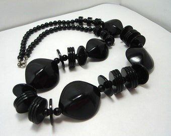 Vintage Black Lucite Matinee Necklace Bold Chic Gotic