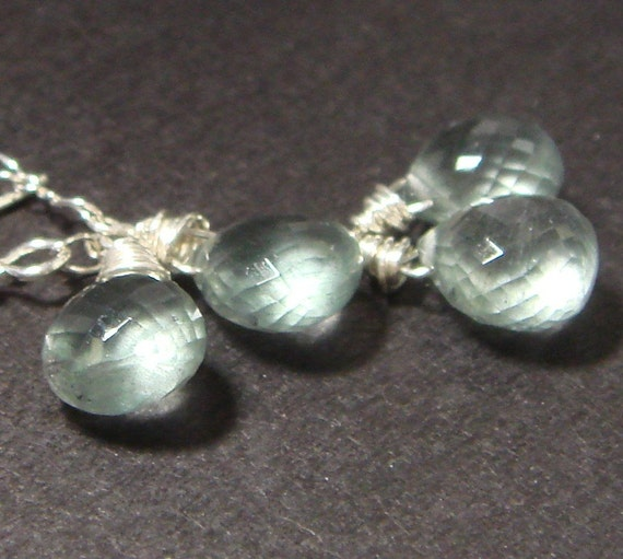 bedazzle  grade aa moss aquamarine twin drops earrings // march birthstone // bridal bridesmaid jewelry
