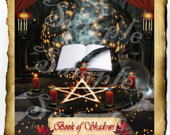 Book of Shadows BoS Cover Page, Digital Download Graphic, Witchcraft Wiccan Journal