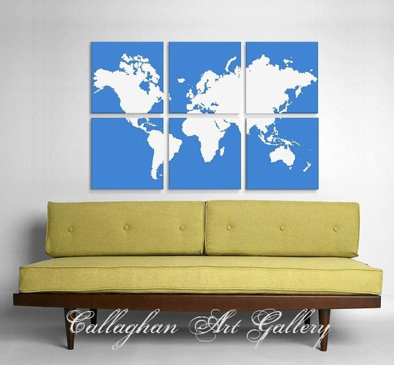 Custom World Map Collection of 6 - Original Silk Screen Prints