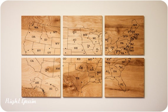 Woodgrain USA Map Large Artwork - Only one made