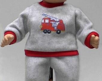 Fire Truck Sweatsuit for Bitty Baby Boy Dolls