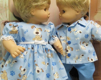 Blue Doggie Outfits for Bitty Baby Twins Dolls