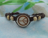 Peace Sign Macrame Bracelet