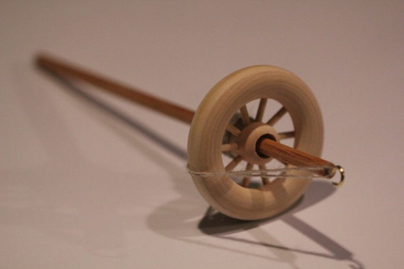 top whorl drop spindle kit learn to spin lace weight yarn includes roving like a mini spinning wheel spoked spindle