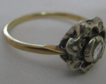 Genuine Art Deco Vintage 14k Gold Rose cut Diamond Ring