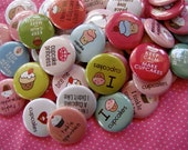 Cupcake Love Buttons - Pinback Buttons Kawaii - Set of 48 - Cute Grab Bag Party Favor