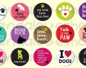 15 Dog Lover Animal Pinback Buttons, Flatback Buttons, 1 inch Pin Button Badges