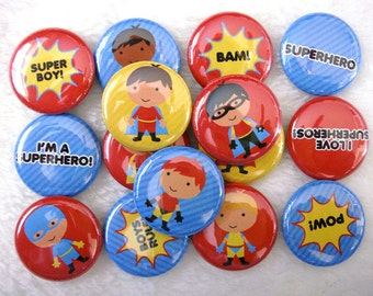 15 Superhero Boys Pinback Buttons - Cute Party Favors - 1 inch 25mm - Superhero Party Supplies