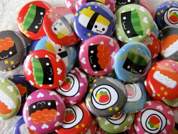 Sushi Buttons, Kawaii Sushi Pinback Buttons (set of 24) Kawaii Party Favors, Sushi Pins, otaku gift