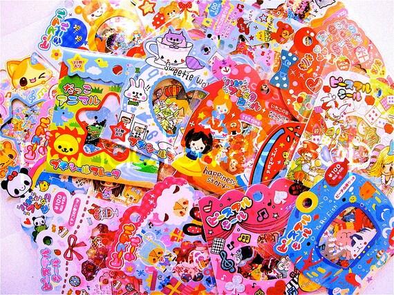 Kawaii Grab Bag - Japanese Mix Lot - Sticker Flakes Craft Supply Kit - Set C