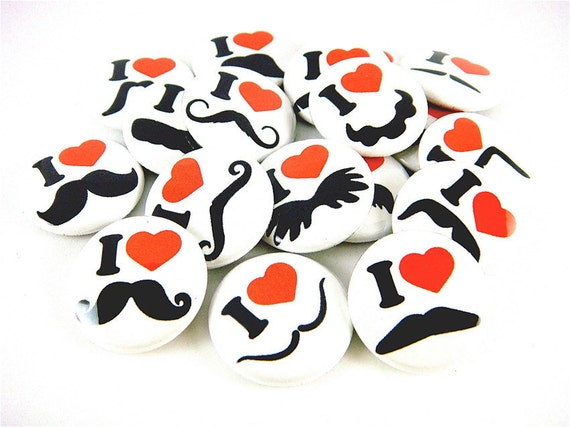 Mustache Love and Hearts in White (Set of 18) - Flat Back Cabochons - 1 inch 25 mm Flatback Round