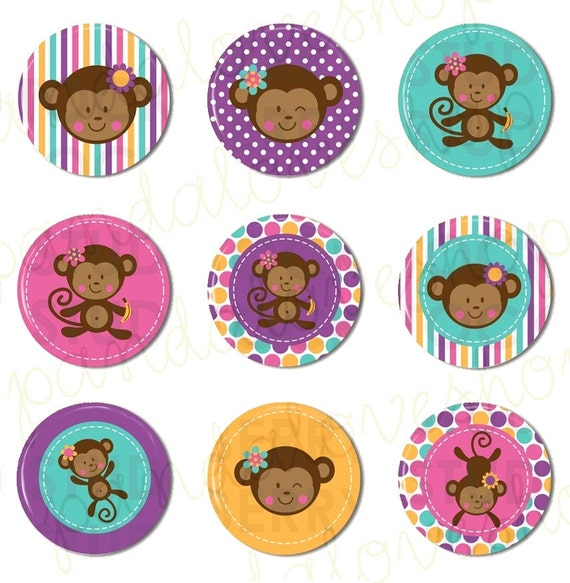 Monkey Love Pastel Cute Girl (set of 9) Flat Back Buttons Cabochons or Pin Back, monkey party favors, girl monkey