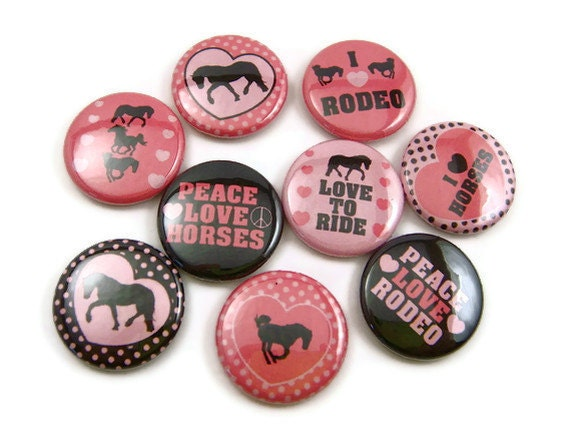 I Love Rodeo - Pinback Buttons - Set of 9 - 1 inch 25mm Round Button Badges - Peace Love Horses